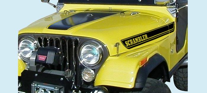 Jeep wrangler hood decals scrambler pair vinyl stickers
