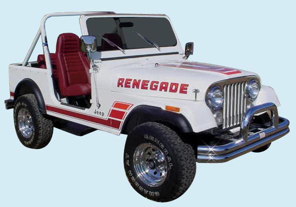 White Cj7 Renegade >> Phoenix Graphix 1983-84 Jeep Renegade Decal Kit